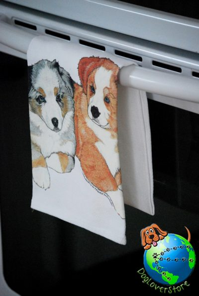 Australian Shepherd Kitchen Hand Towel Puppy 1