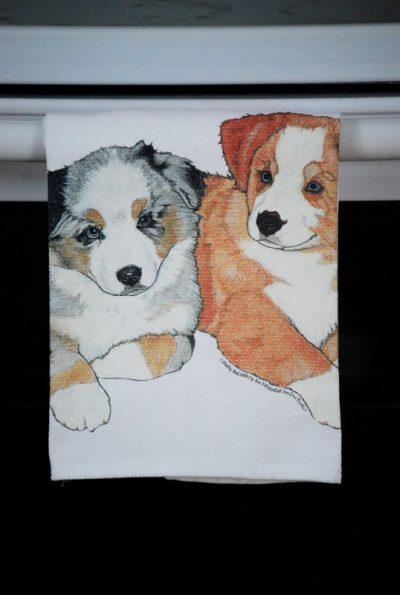 Australian Shepherd Kitchen Hand Towel Puppy 2