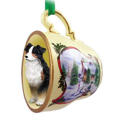 Australian Shepherd Christmas Ornament.Australian Shepherd Christmas Ornament Teacup Tri Color