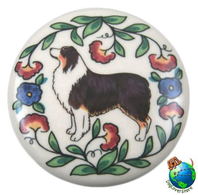 Australian Shepherd Dog Wine Bottle Stopper Hand Painted