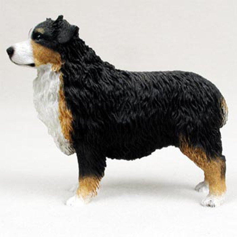 Australian Shepherd Hand Painted Collectible Dog Figurine Tri Color Docked