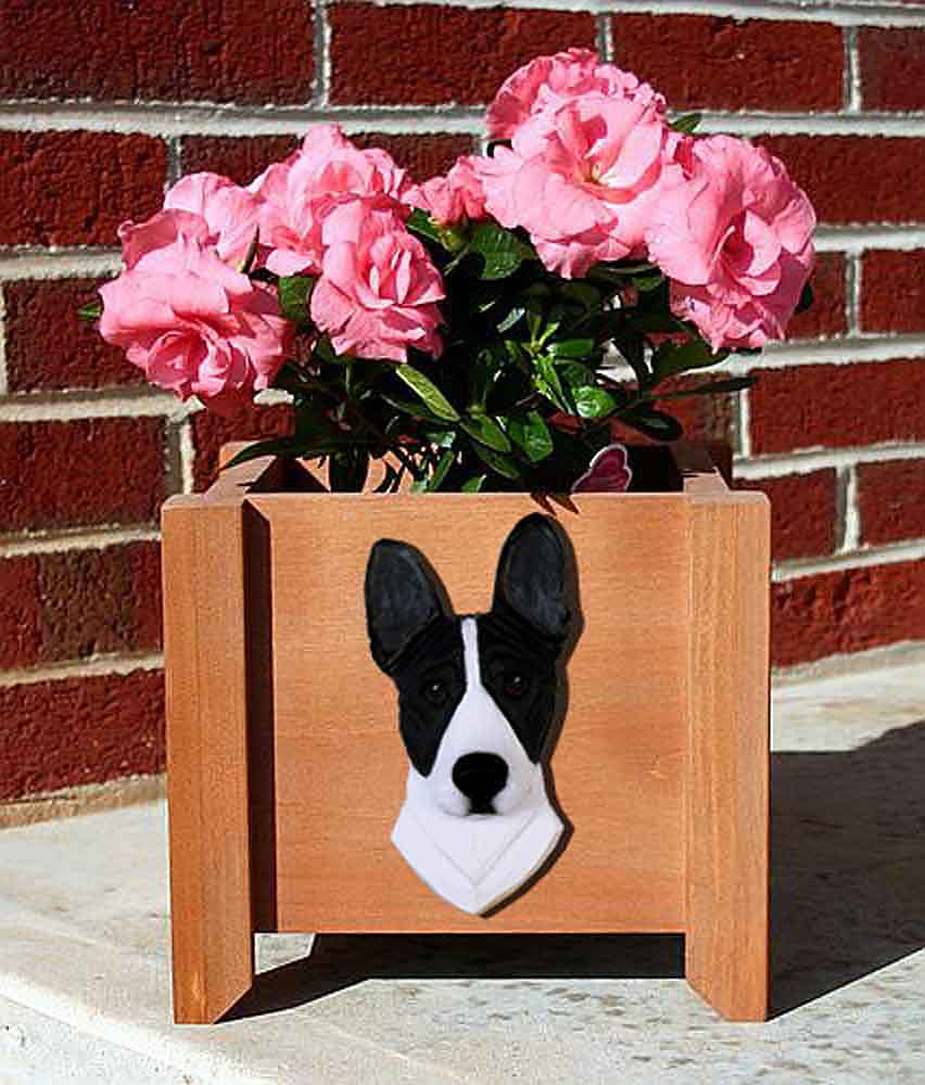 Basenji Planter Flower Pot Black White