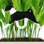 Black & White Basenji Figure Attached to Stake to be Placed in Ground or Garden