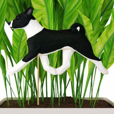 basenji-black-planter-stake
