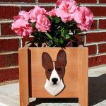 Basenji Planter Flower Pot Brindle White 1