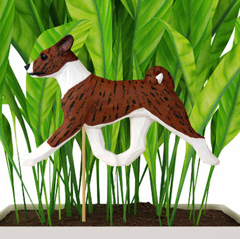 Brindle Colored Basenji Figure Attached to Stake to be Placed in Ground or Garden