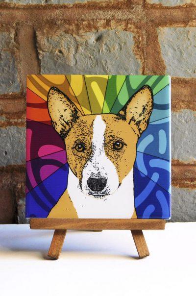 Basenji Colorful Portrait Original Artwork on Ceramic Tile 4x4 Inches