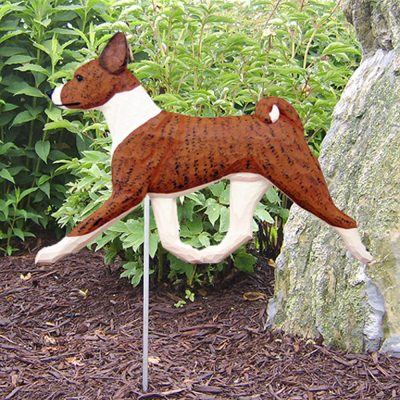 Basenji Garden Stake Sign Brindle White