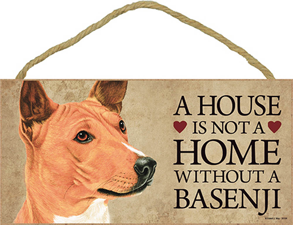 Basenji Wood Dog Sign Wall Plaque 5 x 10 + Bonus Coaster