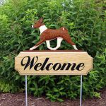 Basenji Outdoor Welcome Yard Sign Brindle & White in Color