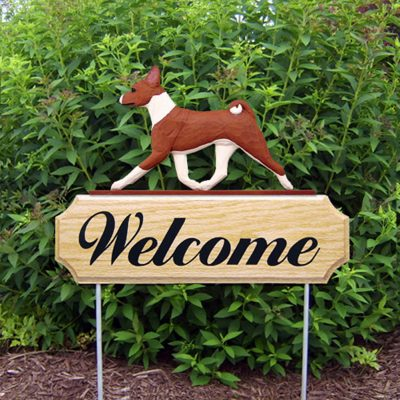 Basenji Outdoor Welcome Yard Sign Red & White in Color