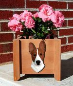 Basenji Planter Flower Pot Red White