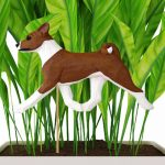 Red & White Basenji Figure Attached to Stake to be Placed in Ground or Garden
