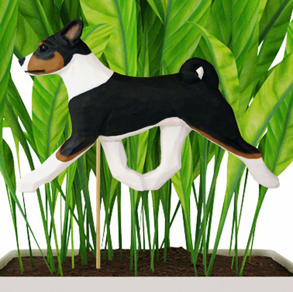 Tri Colored Basenji Figure Attached to Stake to be Placed in Ground or Garden