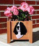 Basset Hound Planter Flower Pot Black White