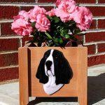 Basset Hound Planter Flower Pot Black White 1