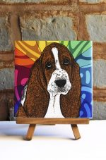 Basset Hound Colorful Portrait Original Artwork on Ceramic Tile 4x4 Inches
