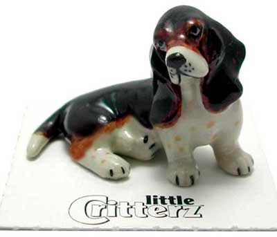 Basset Hound Hand Painted Porcelain Miniature Figurine
