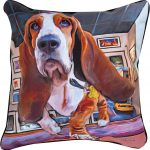 Basset Hound Artistic Throw Pillow 18X18""