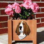 Basset Hound Planter Flower Pot Red White 1