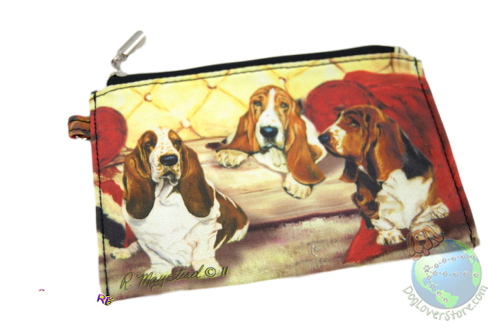 Basset Hounds Sitting on Couch Design on Zippered Coin Pouch