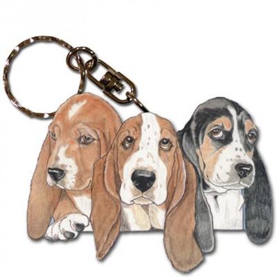 Basset Hound Wooden Dog Breed Keychain Key Ring 1