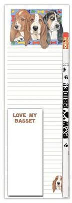 Basset Hound Dog Notepads To Do List Pad Pencil Gift Set