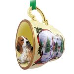 Basset Hound Dog Christmas Holiday Teacup Ornament Figurine