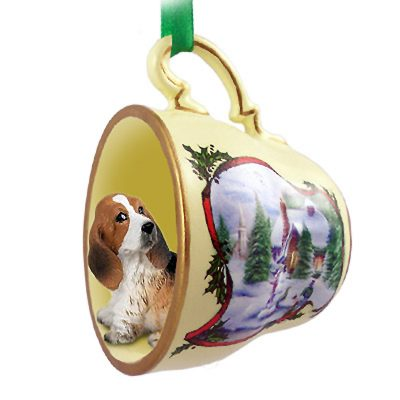 Basset Hound Dog Christmas Holiday Teacup Ornament Figurine 1