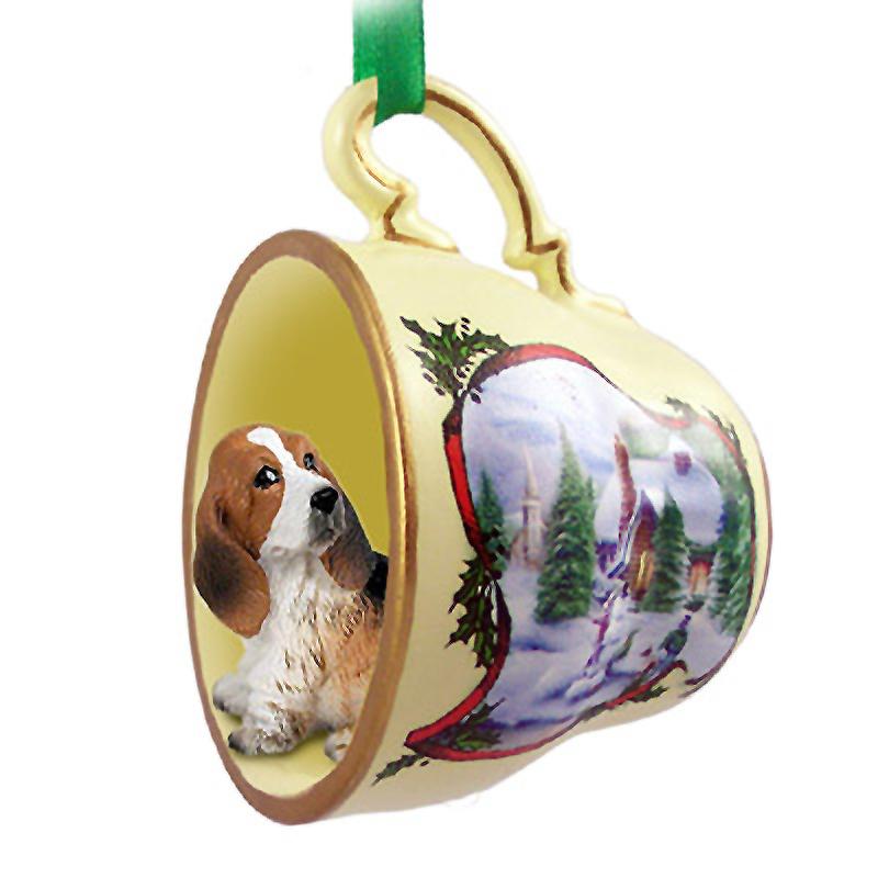 basset hound ornament figurine christmas holiday teacup