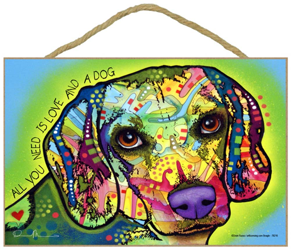 Beagle Sign - All You Need is Love & a Dog 7 x 10.5