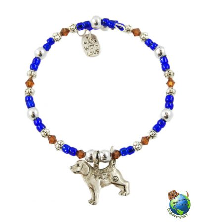 German Shepherd Beaded Charm Bracelet Silver Handmade