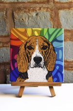 Beagle Colorful Portrait Original Artwork on Ceramic Tile 4x4 Inches