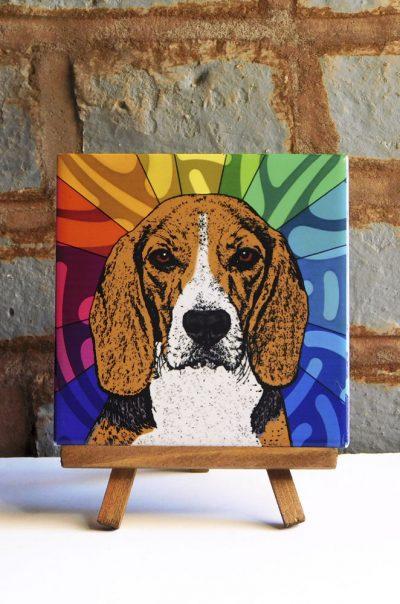 Beagle Colorful Portrait Original Artwork on Ceramic Tile 4x4 Inches