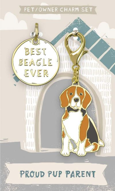 Beagle Collar Charm and Keychain Set
