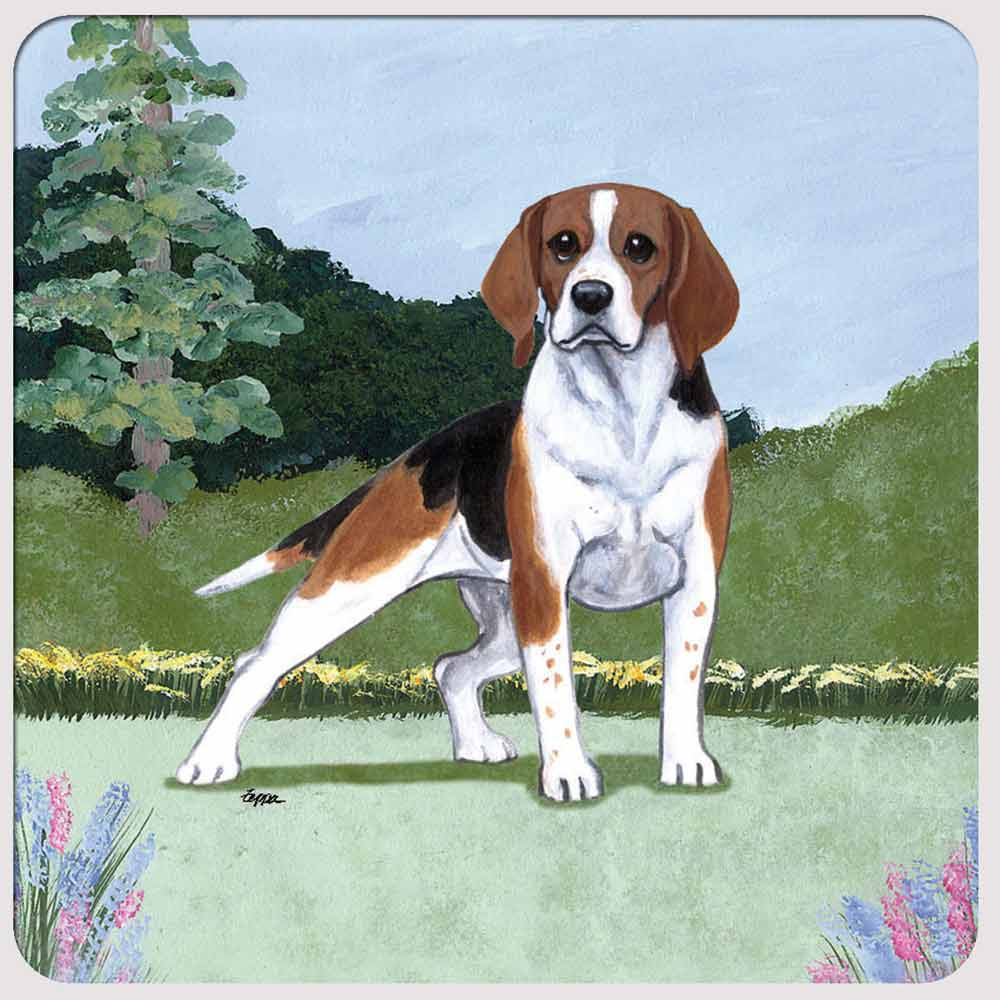 Beagle Yard Scene Coasters Set of 4