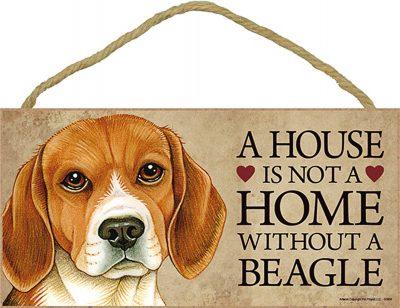 Beagle Wood Dog Sign Wall Plaque 5 x 10 + Bonus Coaster