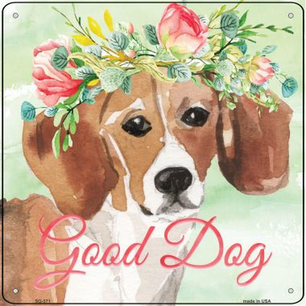 "Beagle ""Good Dog"" Metal Sign"