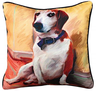 Beagle Artistic Throw Pillow 18X18""