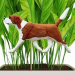 Red & White Colored Beagle Figure Attached to Stake to be Placed in Ground or Garden