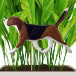 Tri Colored Beagle Figure Attached to Stake to be Placed in Ground or Garden