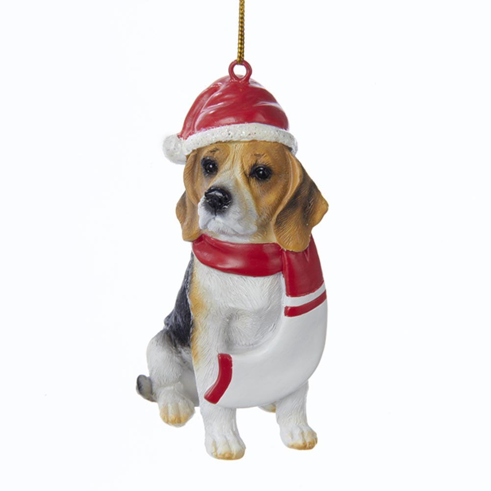 Beagle Resin Santa Ornament 3.9 Inches