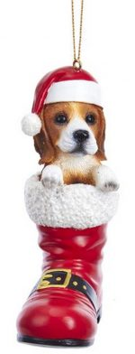 Beagle Santa Boot Ornament