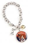 Beagle Charm Bracelet w/ Heart & Bone Silver