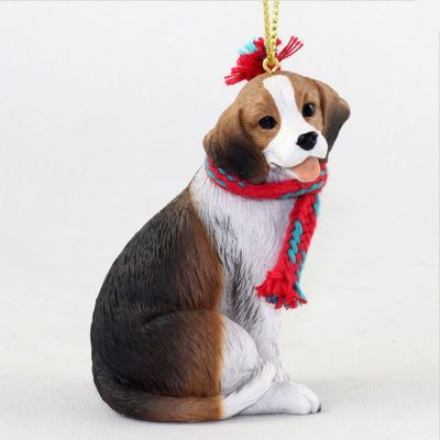 Beagle Dog Christmas Ornament Scarf Figurine 1