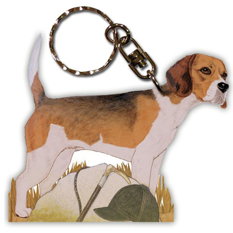 Beagle Wooden Dog Breed Keychain Key Ring