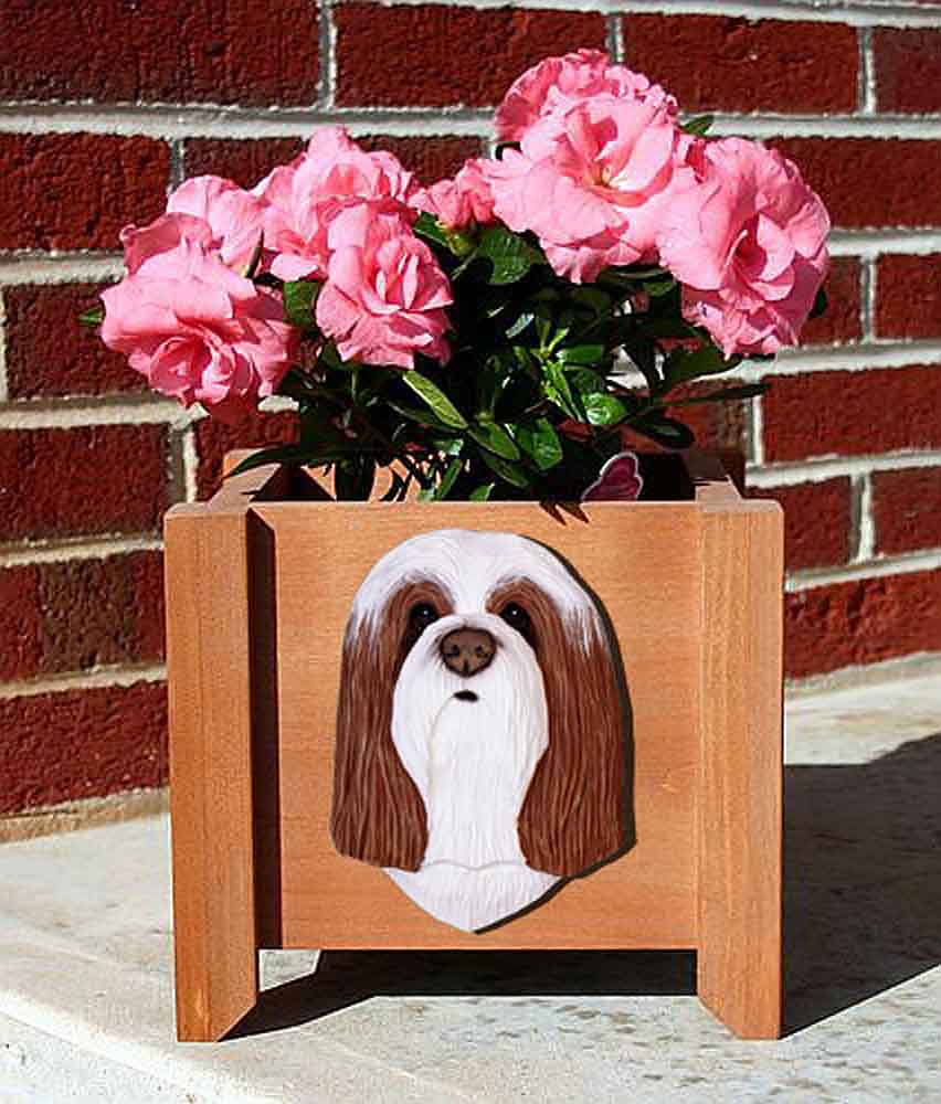 Bearded Collie Planter Flower Pot Brown White