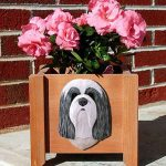 Bearded Collie Planter Flower Pot Blue White 1