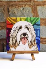 Bearded Collie Colorful Portrait Original Artwork on Ceramic Tile 4x4 Inches