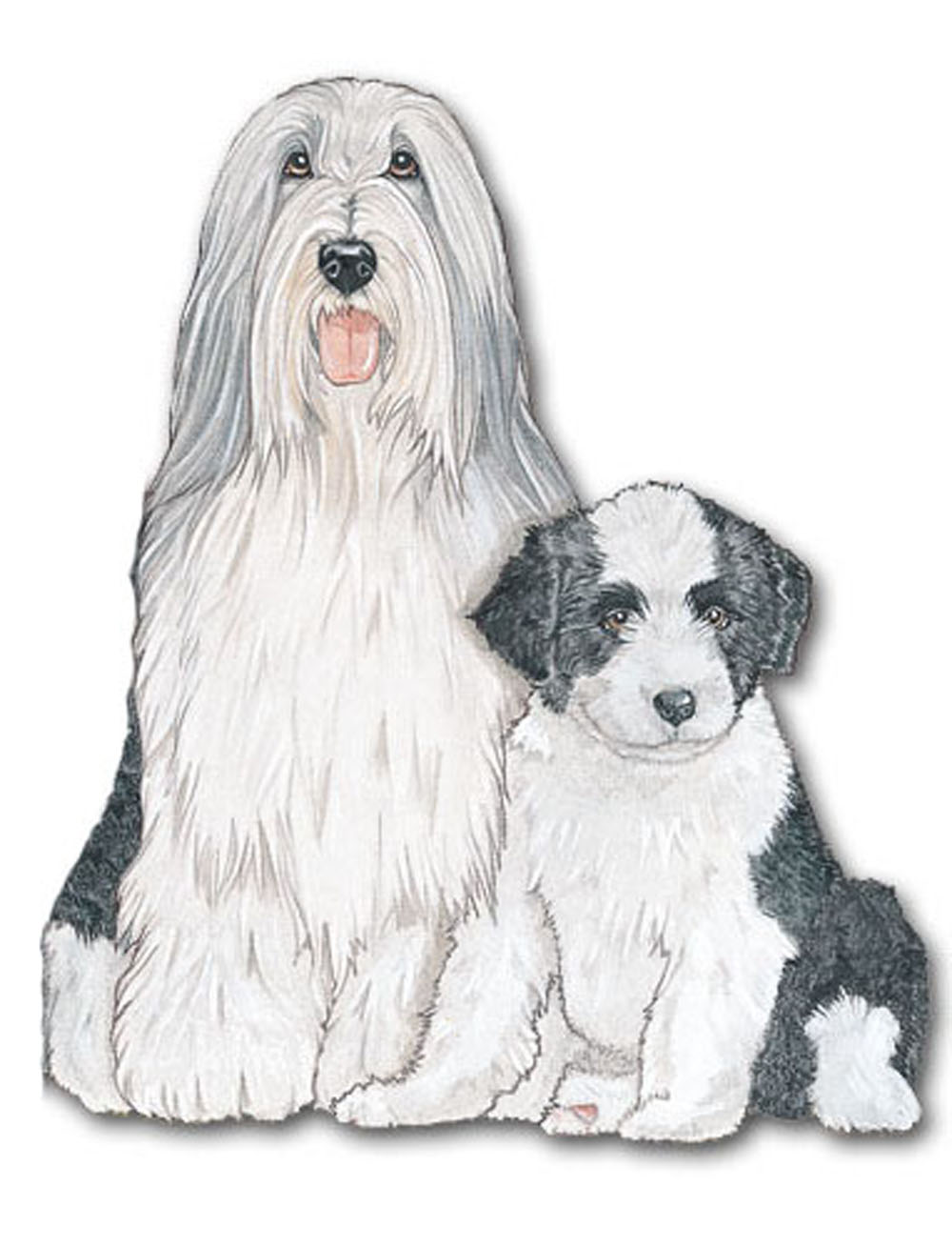Bearded Collie Wooden Magnet